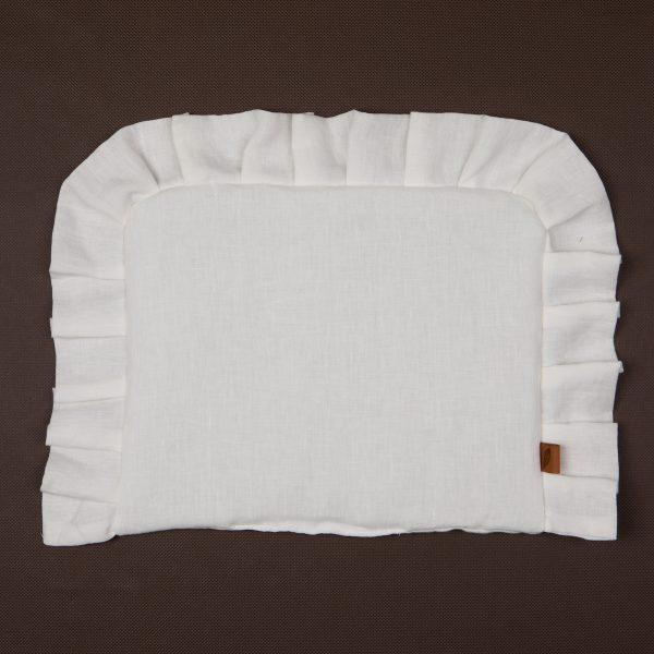 poduszka z falbanka biala