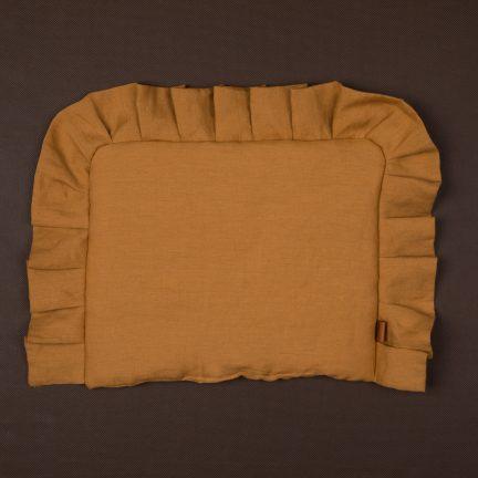 poduszka z falbanka karmel